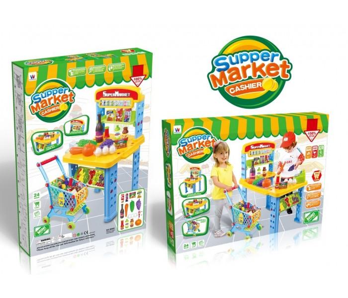 Большой игровой набор Супермаркет тележка+продукты+прилавок