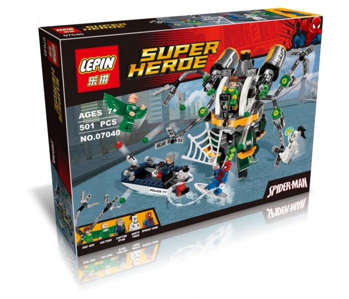 """Конструктор LEPIN 07040  Super Heroes """"В ловушке Доктора Осьминога"""" 501 деталь"""
