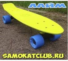 """Мини-круизер 22"""" ЛАЙМ с голубыми колесами"""