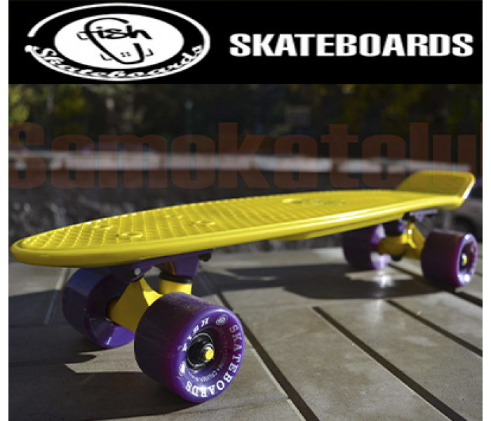 Скейт FishBoard 22 дюйма желтого цвета. РАСПРОДАЖА!