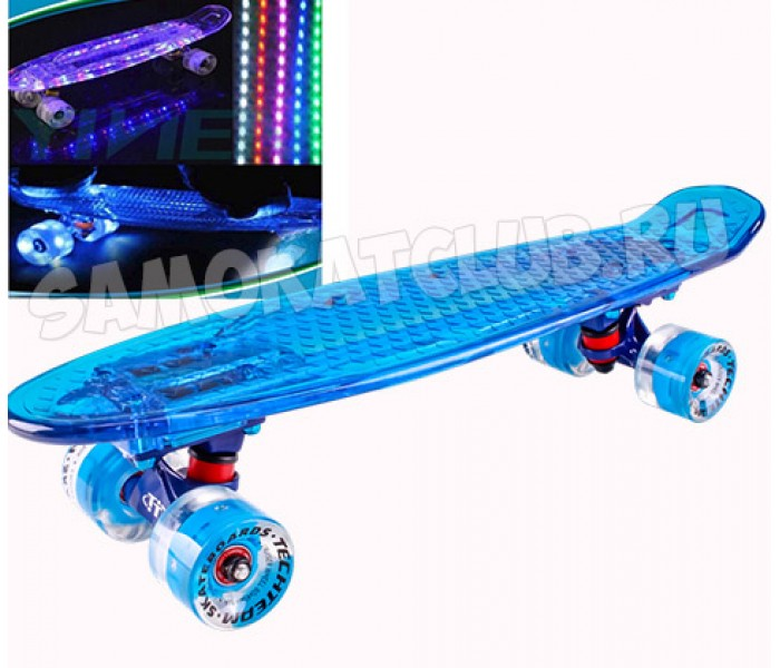 """Круизер Tech Team Transparent 22"""" Light светящиеся доска и колеса (синий)"""
