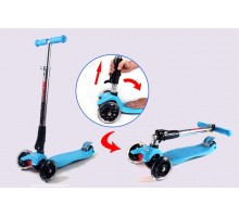 Cамокат Scooter со светящимися колесами голубой Детям 2,5-8 лет