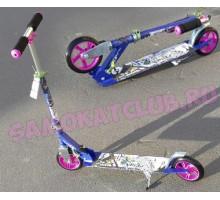 Самокат HELLO WOOD HW-145 голубой для девочек 5-10 лет