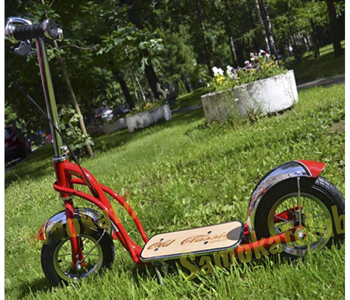 Детский самокат с надувными колесами. Зимний самокат