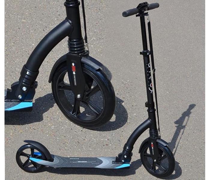 Самокат для взрослых с большими колесами 230 -180 (черный)