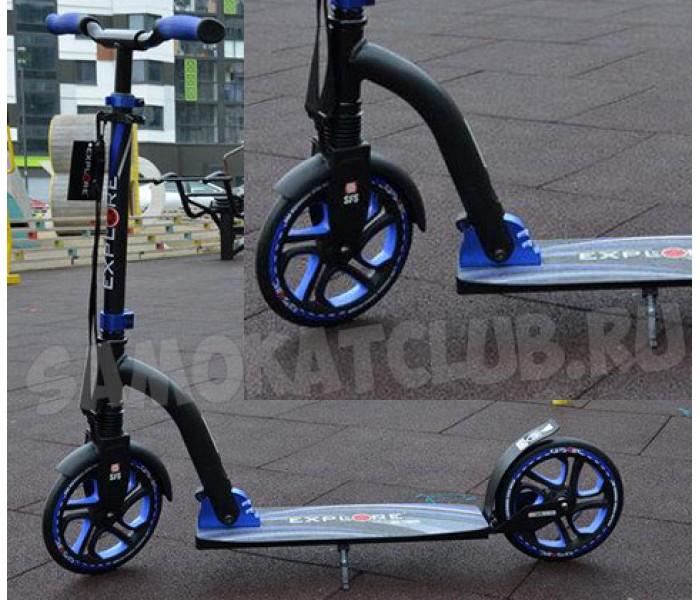 Самокат с большими колесами eXplore синий