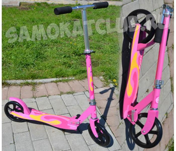 Самокат Scooter 200 с большими колесами розовый