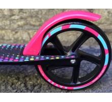 Cамокат RAVEN 2018 с большими колесами 200мм черно/розовый