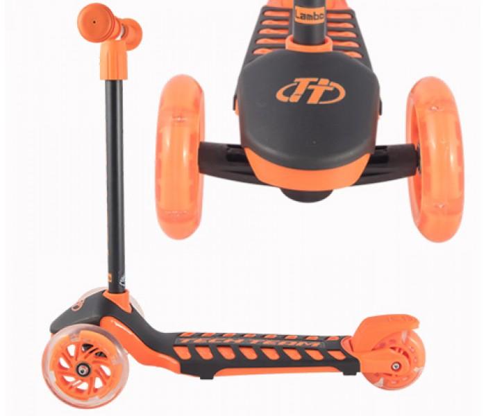 Cамокат детский TT LAMBO(ЛАМБО) со светящимися колесами и выдвижной ручкой (оранжевый)