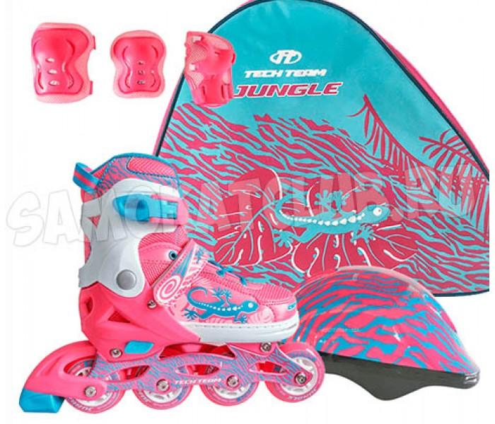 Ролики детские со шлемом и защитой в сумке TT JUNGLE SET 2018 раздвижные