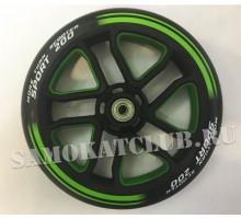 Колесо 200 мм черно-зеленое 2-х цветное с подшипниками и втулкой