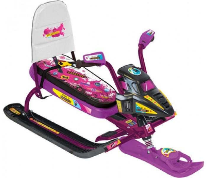 Снегокат-снегоцикл детский со спинкой розовый