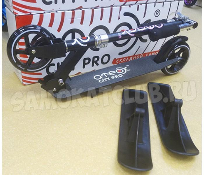 Зимний самокат Ateox City PRO для детей (лыжи и колеса) 2в1 черный