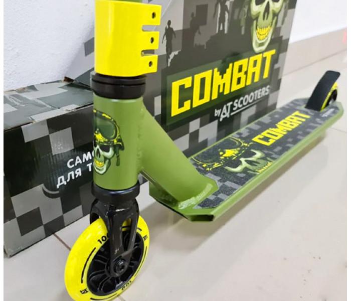 Самокат для трюков и прыжков Ateox Combat хаки-желтый