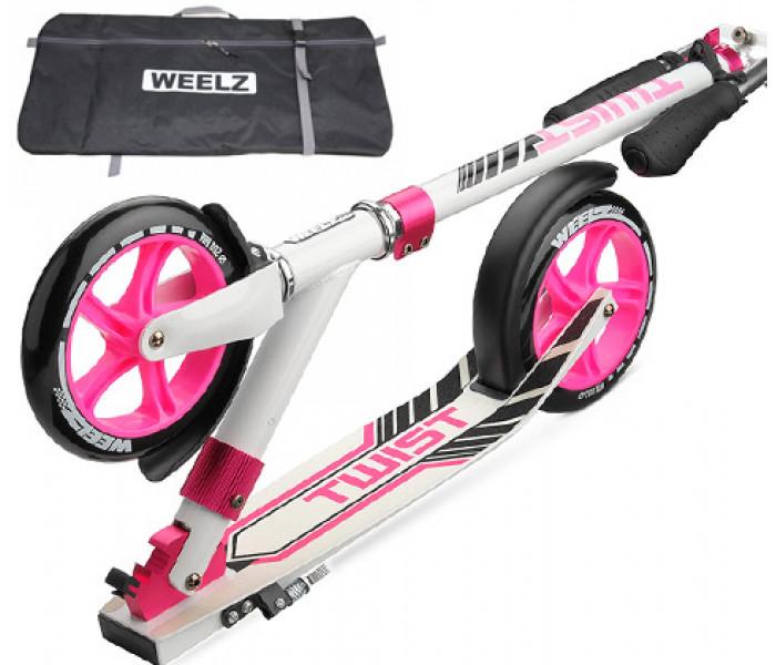 Самокат Weelz Twist New бело-розовый с большими колесами 200мм