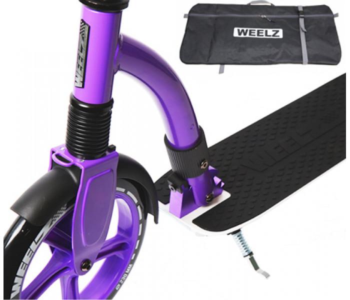 Самокат Weelz Rock бело-фиолетовыйй с большими колесами 230-180мм