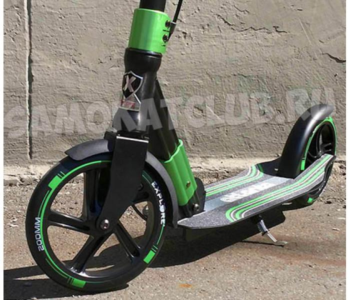 Самокат Explore ATLANTA PRO с ручным тормозом  (зеленый) и большими колесами