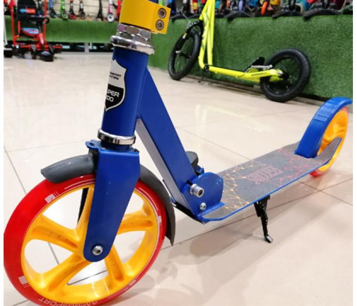 Самокат Explore SUCCESS синий с большими колесами + звоночек