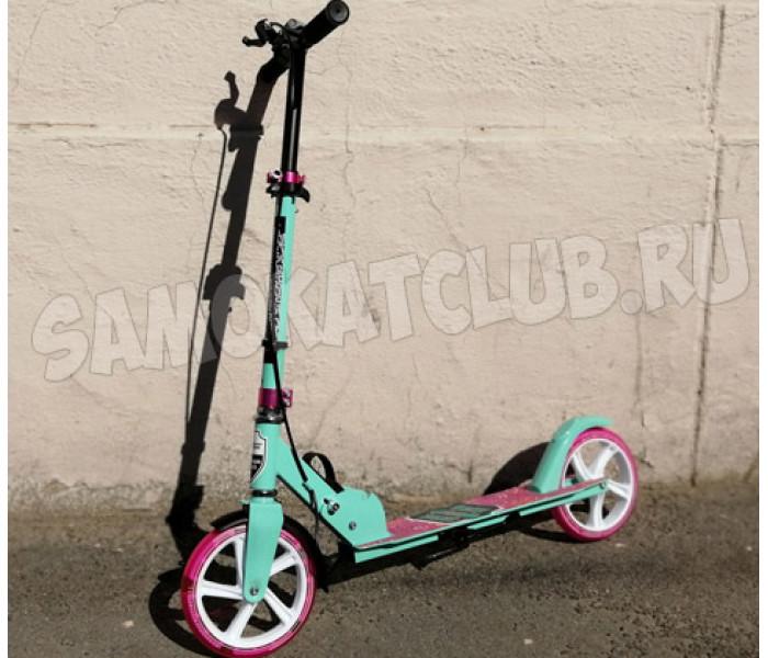 Самокат Amigo Groove New 200 мятно-розовый (светится колесо + ручной тормоз)