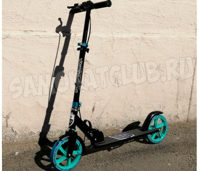 Самокат Amigo Groove New 200 черно-синий (светится колесо + ручной тормоз)
