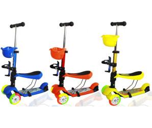 Самокат Ecoline Compound с сиденьем и цветными колесами