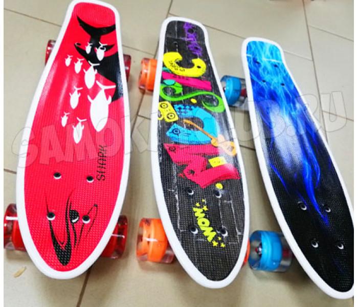 "Скейтборд Explore ULSTER 22""  с рисунком и светящимися колесами"
