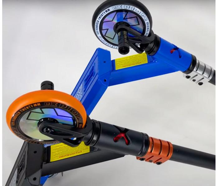 Трюковой самокат Explore LEADER Deluxe 2021 (синий, оранжевый)