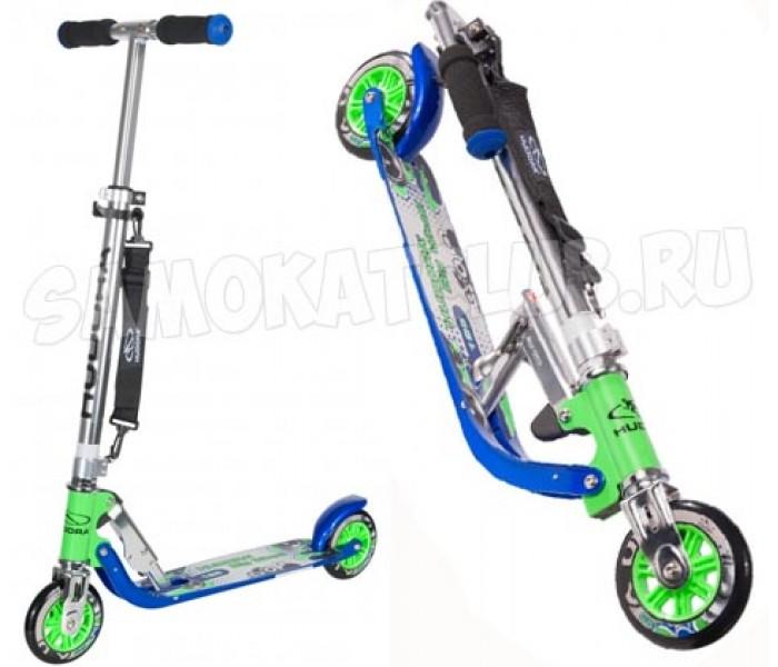 Двухколесный самокат HUDORA Big Wheel 125 для детей от 4 лет (сине-зеленый)