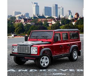 Детский электромобиль Land Rover Defender (красный глянец) большой