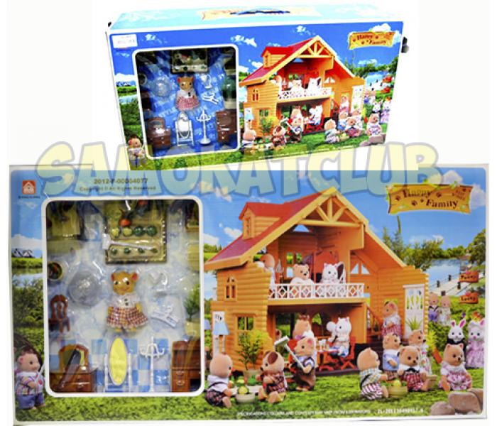 Игрушечный домик с мебелью и жителями Happy family