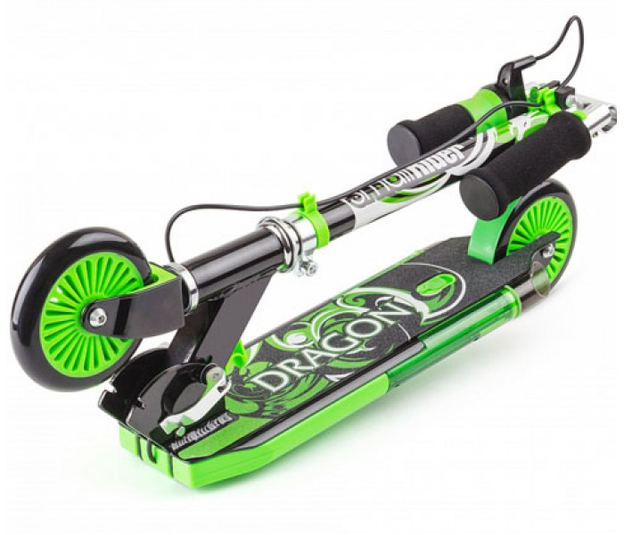 Самокат Small Rider Dragon зеленый с дымом, звуком, светом