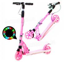 Cамокат Micar Galaxy 145 Pink со светящимися колесами и ручным тормозом