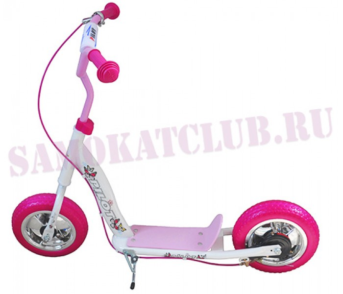 """Самокат PILOT S 10"""" розовый для девочек с тормозом на руле"""