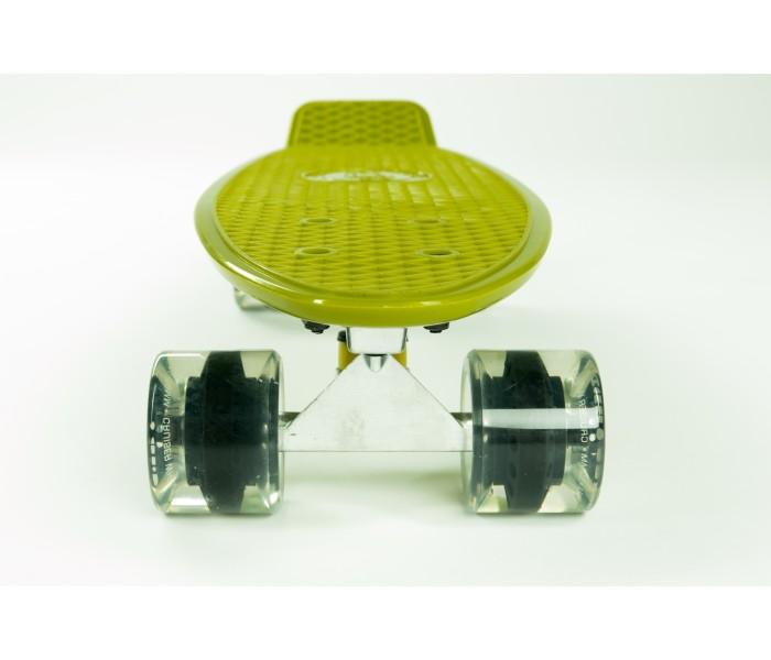 Скейт FISH цвета ХАКИ 22 дюйма со светящимися колесами