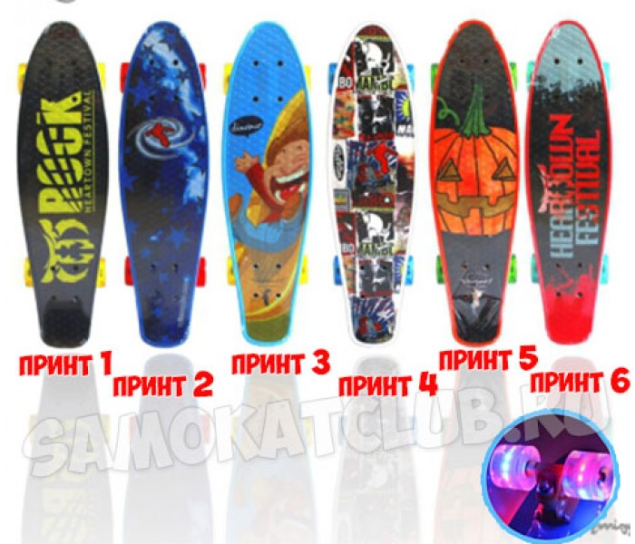 "Скейтборд Explore ENCORE 24"" (2017) с рисунком и светящимися колесами"
