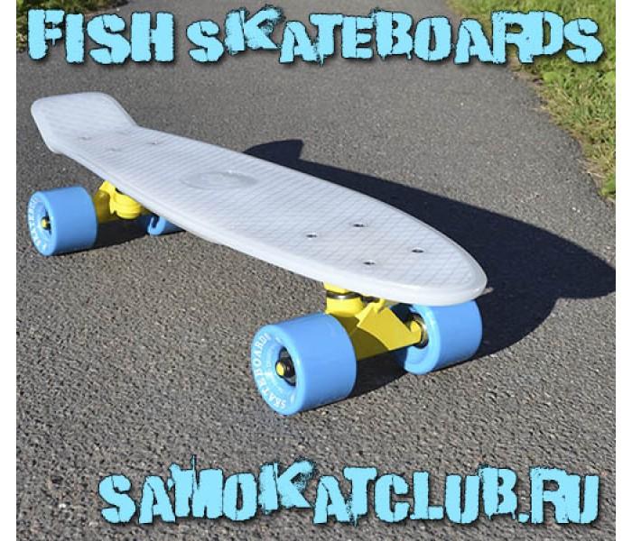 Пенни Борд FISHboard белого цвета с голубыми колесами