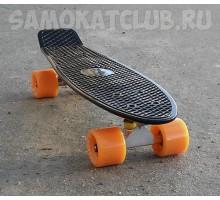 """Мини-круизер 22"""" ФИШ  черного цвета оранжевые колеса"""