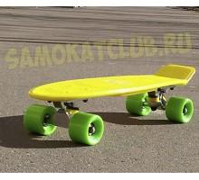"FISH SkateBoards мини-круизер (ФИШ) 22"" ЖЕЛТЫЙ с салатовыми колесами"