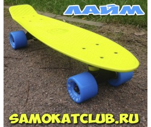 """Fish Skateboards 22"""" Мини-круизер ЛАЙМ с голубыми колесами"""