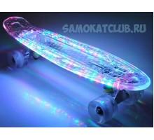 """Мини-круизер 22"""" FIsh Skateboards Original cветящийся с неоновыми лампочками"""