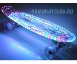 """FIsh Skateboards 22"""" cветящийся мини-круизер с неоновыми лампочками"""