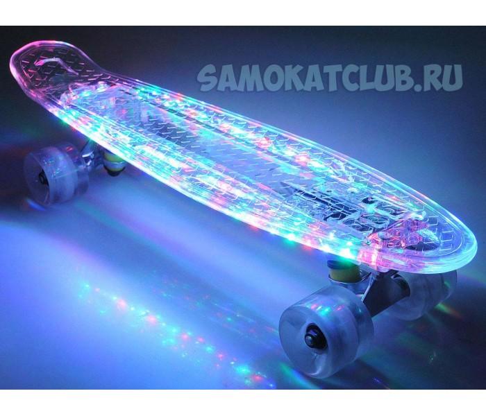 Неоновый скейт Fish Skateboards с мигающими цветными лампочками (22 дюйма)