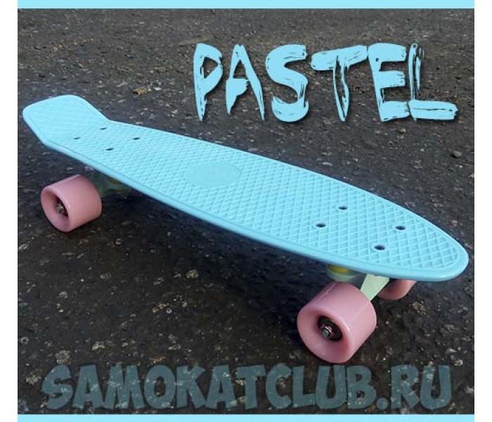 Пластборд Fish нежно голубой с розовыми колесами PASTEL