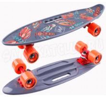 "Tech Team Fishboard 23"" PRINT (2021) пластиковый скейт с ручкой"