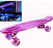 """Круизер Tech Team TT Transparent 22"""" Light светящийся розово-фиолетовый"""