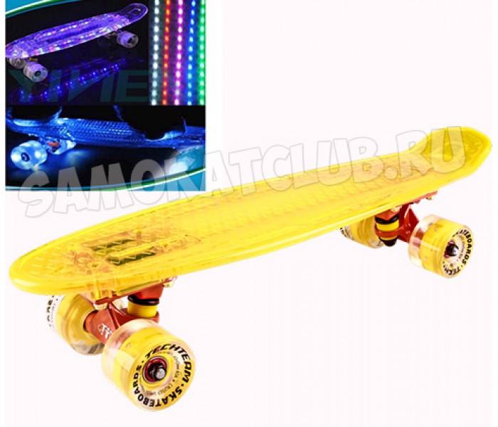 """Круизер Tech Team Transparent 22"""" Light светящиеся доска и колеса (желтый)"""