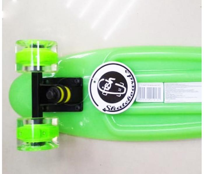 """Мини-круизер Fish Skateboards 22"""" Green светятся колеса и доска  в темноте"""