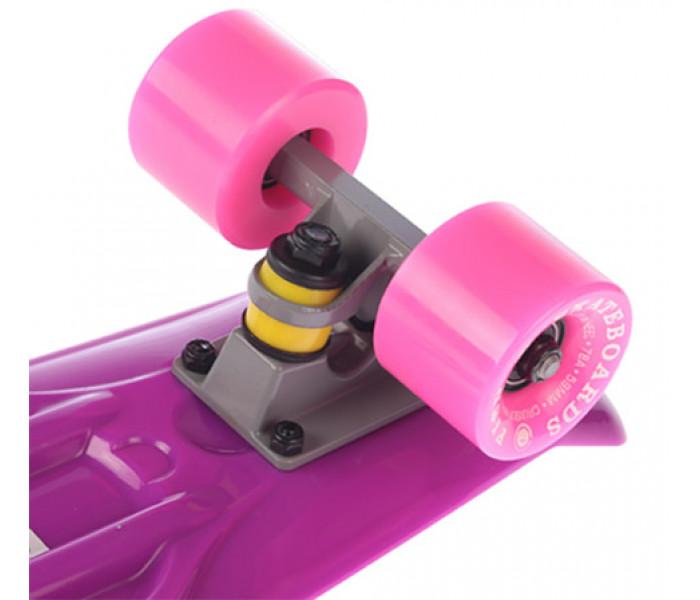 """Мини-круизер Fish Skateboards 22"""" Фиолетовый с розовыми колесами"""