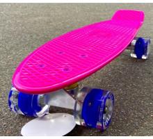 "Fish SkateBoards розовый мини-круизер 22"" со светящимися колесами"