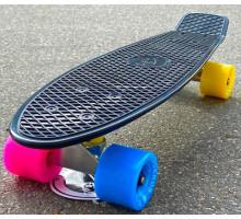 """Fish SkateBoards мини-круизер 22"""" Черный с цветными колесами"""